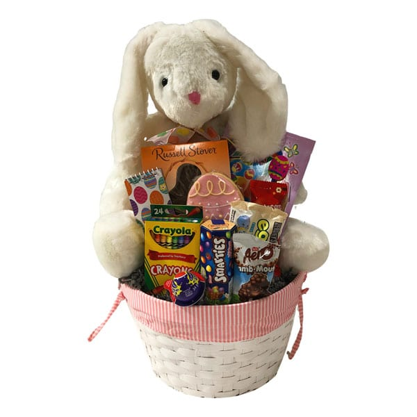 Bunnies-Bunnies-Everywhere-Girl with giant bunny, crayons, activity book, chocolates, hand decorated cookie and more!