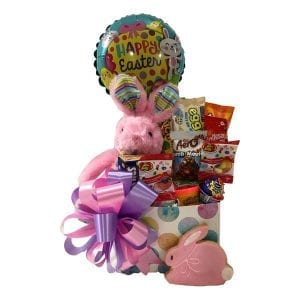 Hop To It Easter Gift Basket for Girl or Boy-filled with candy, chocolate, a plush bunny and Easter Balloon