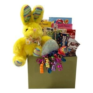 Some Bunny Loves Me Gift Basket for Easter for Girl or Boy filled with toys, candy, chocolate and plush bunny.