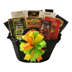 Fiesta Gift Basket with fahita seasoning, guacamole mix, Mexican rice, Taco Seasoning, Margarita and Sangria Mix, Lime Cilantro Dip, Snack Mix, Caramels, Beer Cheese, Crackers, Peanut Brittle and for dessert---Smores!