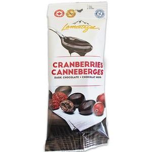 Lamontagne Dark Chocolate Cranberries 57g