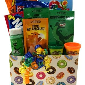 Dinosaur Adventure Gift Basket filled with dinosaur hot chocolate, eggs, dust and more!