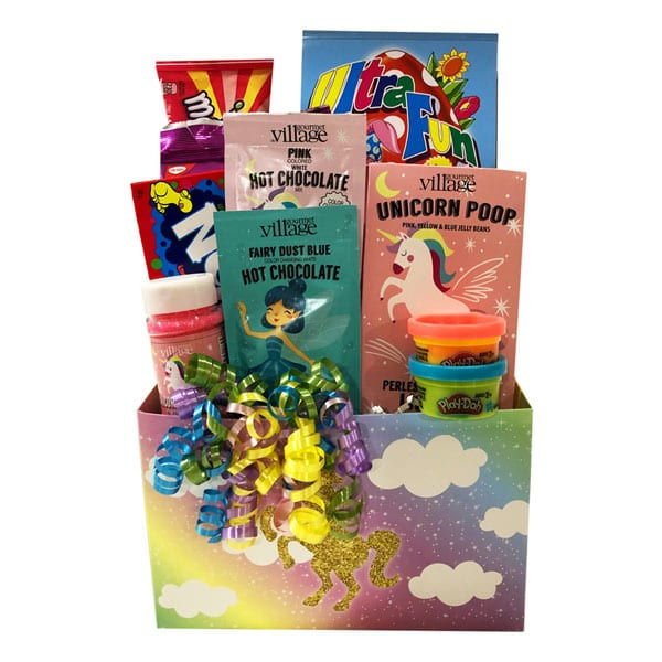 Unicorn Magic Gift Basket-filled with Unicorn Poop (fruity jelly beans), Unicorn Sparkles, pink and blue hot chocolates and more!