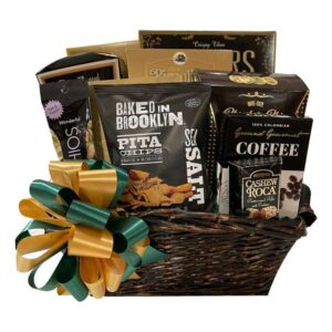 Bountiful CBountiful Gift Basket filed with pistachio nuts, pita chips, coffee, cashew roca, pretzels and more!
