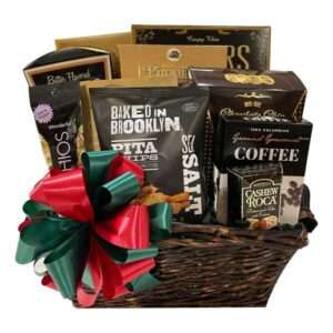 Bountiful Christmas Gift Basket filed with pistachio nuts, pita chips, coffee, cashew roca, pretzels and more!