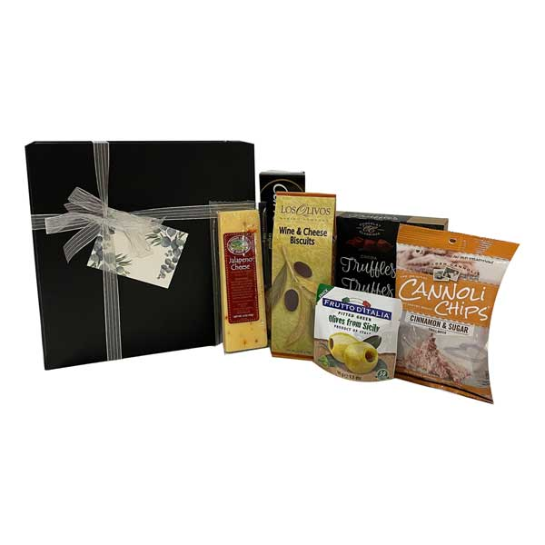 Christmas Indulgence is a large magnetic gift box filled with cheese, cannoli chips, cocoa dusted truffles, olives, crackers and wine and cheese biscuits