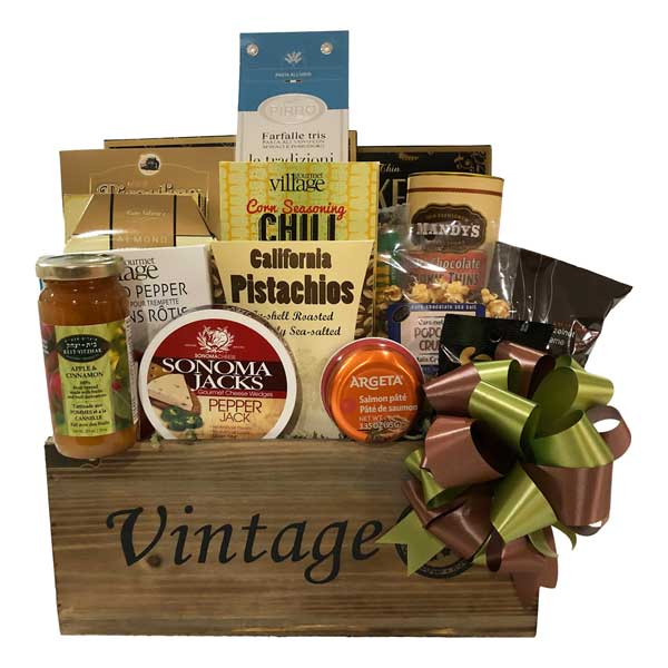 Our Classic Collection gift baskets is filled with cheese, pasta, pasta sauce, crackers, cookies, marinades, jams, coffee, biscotti, pistachio and assorted nuts