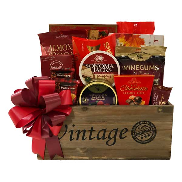 Limited Edition Gift Basket with biscotti, maple popcorn, cookies, pretzels, smoked salmon, chocolates, fudge, candy, cheese shortbread and more!