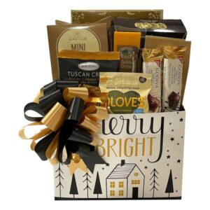 Merry and Bright Gift Box filled with smoked salmon, cheese, crackers, premium Godiva chocolates and more!
