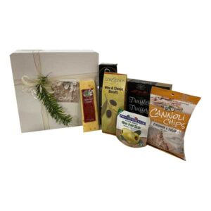 Our Pristine Gift box is a large magnetic gift box filled with cheese, cannoli chips, cocoa dusted truffles, olives, crackers and wine and cheese biscuits