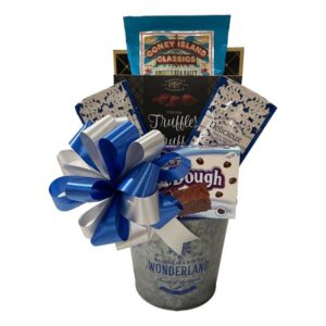 Winter Wonderland Gift Baskets filled with kettle corn, cocoa dusted truffles, hot chocolate cookie dough bites and cookies!