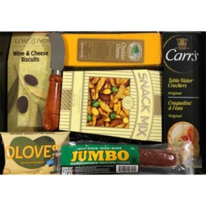 Charcuterie Tray Gift-filled with cheeses, meats, olives and crackers