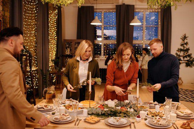 family-preparing for christmas dinner